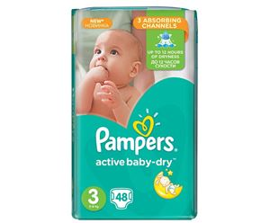 Εικόνα της PAMPERS BABY DRY  Νο3 (5-9kg) 48ΤΕΜ ACTIVE