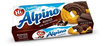 Εικόνα της ALPINO RING COOKIES ΜΕ ΜΑΥΡΗ ΣΟΚΟΛΑΤΑ  150ΓΡ