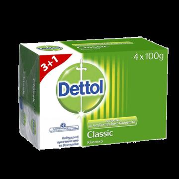Εικόνα της DETTOL ΣΑΠΟΥΝΙ 4Χ100ΓΡ 3+1 ΔΩΡΟ ΠΛΑΚΑ CLASSIC