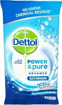 Εικόνα της DETTOL ΑΝΤΙΒΑΚΤΗΡΙΑΚΑ ΠΑΝΙΑ ΚΑΘΑΡΙΣΜΟΥ 32ΤΕΜ POWER & PURE BATHROOM