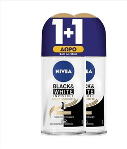 Εικόνα της NIVEA ROLL ON 50ML BLACK & WHITE INVISIBLE SILKY SMOOTH WOMEN (1+1 ΔΩΡΟ) ΕΛΛΗΝΙΚΟ